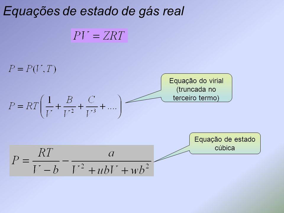 Equações de estado de gás real Equação do virial (truncada no terceiro termo) Equação de estado cúbica