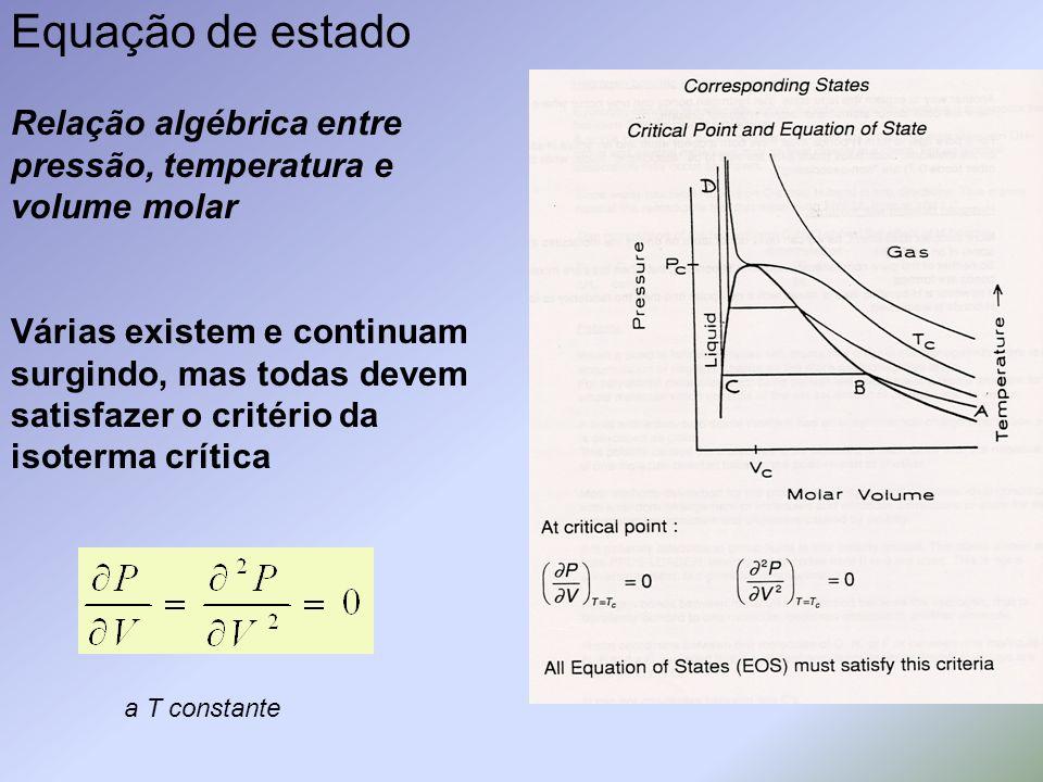 Equação de estado Relação algébrica entre pressão, temperatura e volume molar Várias existem e continuam surgindo, mas todas devem satisfazer o critér