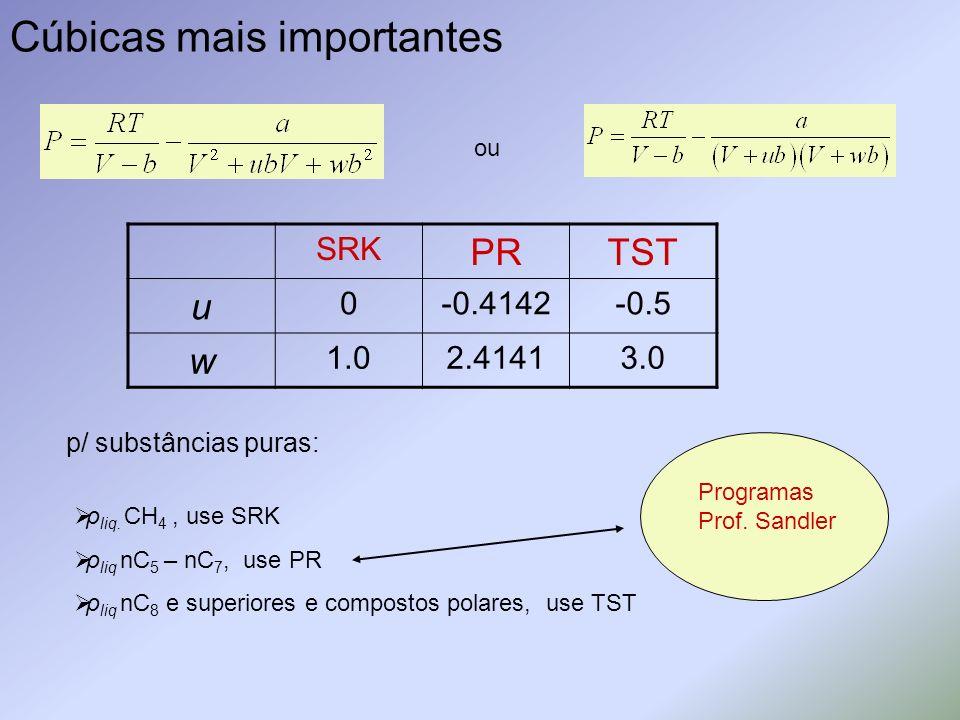 Cúbicas mais importantes ou SRK PRTST u 0-0.4142-0.5 w 1.02.41413.0 p/ substâncias puras: ρ liq. CH 4, use SRK ρ liq nC 5 – nC 7, use PR ρ liq nC 8 e