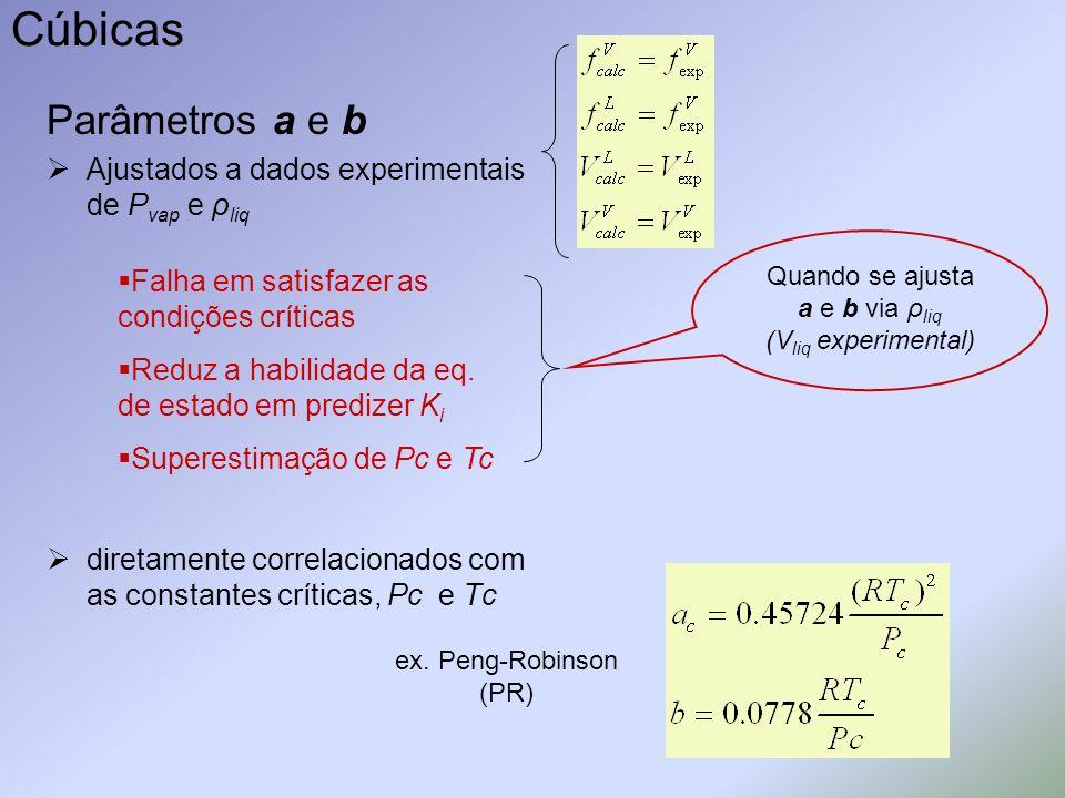 Cúbicas Parâmetros a e b Ajustados a dados experimentais de P vap e ρ liq diretamente correlacionados com as constantes críticas, Pc e Tc Falha em sat