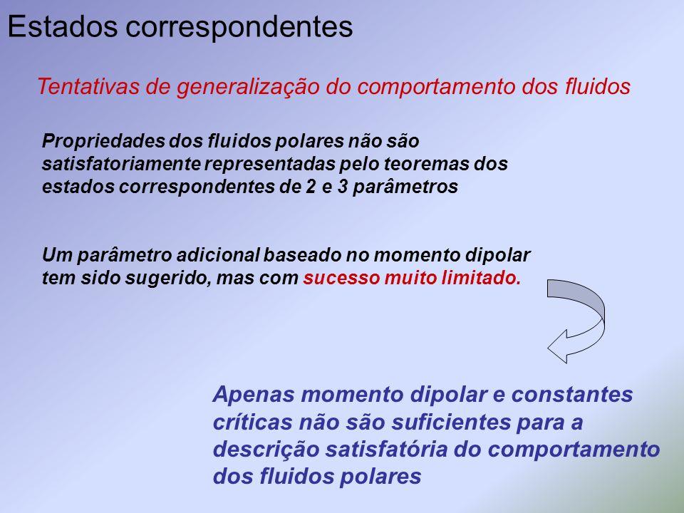 Estados correspondentes Tentativas de generalização do comportamento dos fluidos Propriedades dos fluidos polares não são satisfatoriamente representa