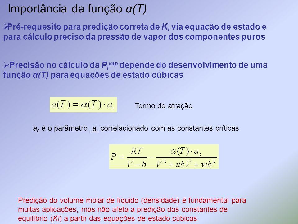 Importância da função α(T) Pré-requesito para predição correta de K i via equação de estado e para cálculo preciso da pressão de vapor dos componentes