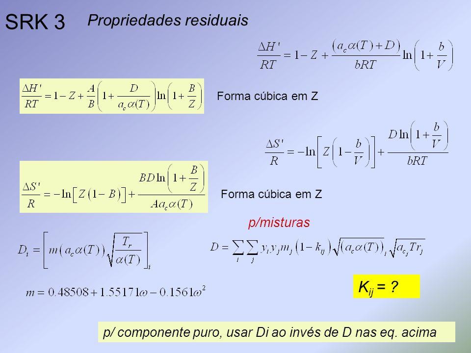 SRK 3 Propriedades residuais Forma cúbica em Z p/ componente puro, usar Di ao invés de D nas eq. acima K ij = ? p/misturas
