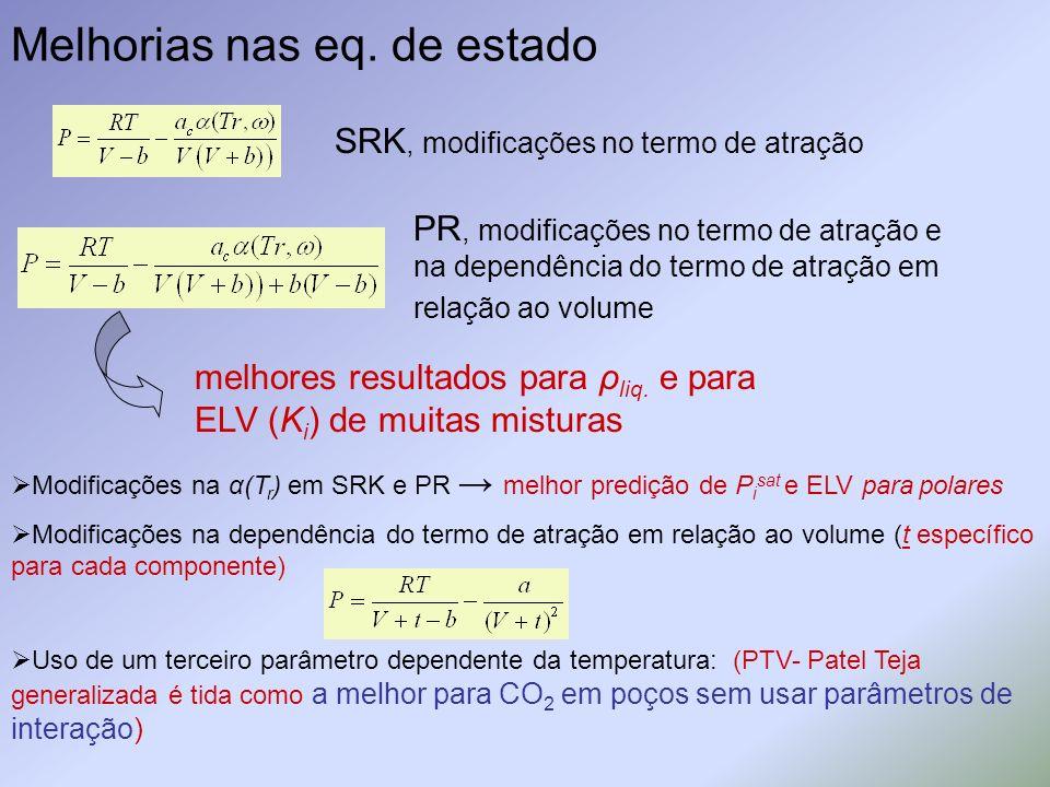 Melhorias nas eq. de estado SRK, modificações no termo de atração PR, modificações no termo de atração e na dependência do termo de atração em relação