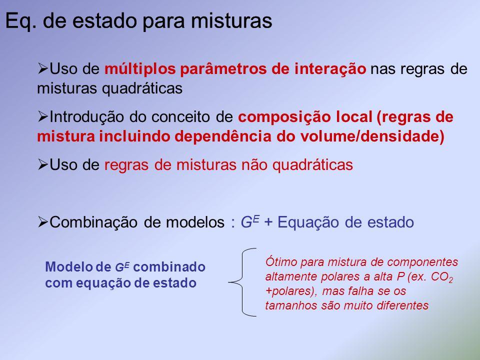 Eq. de estado para misturas Uso de múltiplos parâmetros de interação nas regras de misturas quadráticas Introdução do conceito de composição local (re