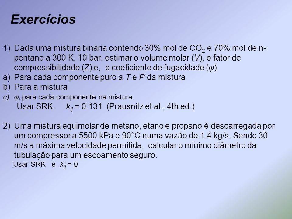 1)Dada uma mistura binária contendo 30% mol de CO 2 e 70% mol de n- pentano a 300 K, 10 bar, estimar o volume molar (V), o fator de compressibilidade