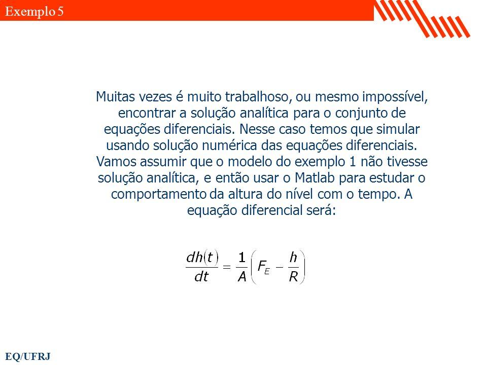 EQ/UFRJ Muitas vezes é muito trabalhoso, ou mesmo impossível, encontrar a solução analítica para o conjunto de equações diferenciais. Nesse caso temos