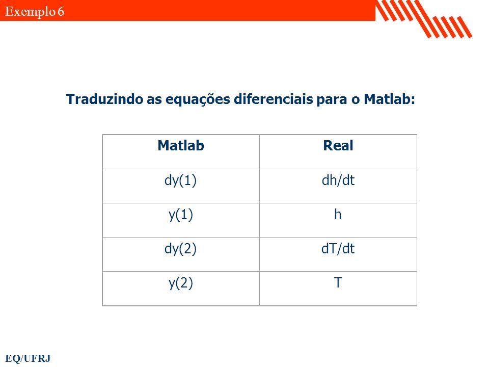 EQ/UFRJ MatlabReal dy(1)dh/dt y(1)h dy(2)dT/dt y(2)T Traduzindo as equações diferenciais para o Matlab: Exemplo 6