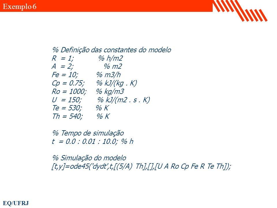 EQ/UFRJ % Definição das constantes do modelo R = 1; % h/m2 A = 2; % m2 Fe = 10; % m3/h Cp = 0.75; % kJ/(kg. K) Ro = 1000; % kg/m3 U = 150; % kJ/(m2. s