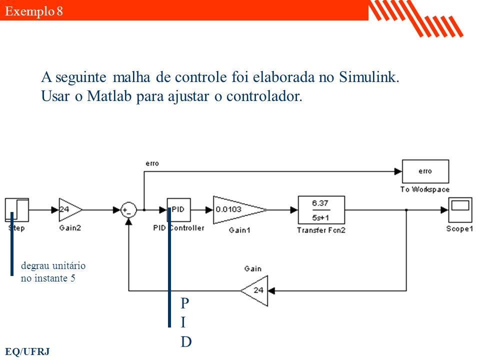 EQ/UFRJ Exemplo 8 A seguinte malha de controle foi elaborada no Simulink. Usar o Matlab para ajustar o controlador. PIDPID degrau unitário no instante