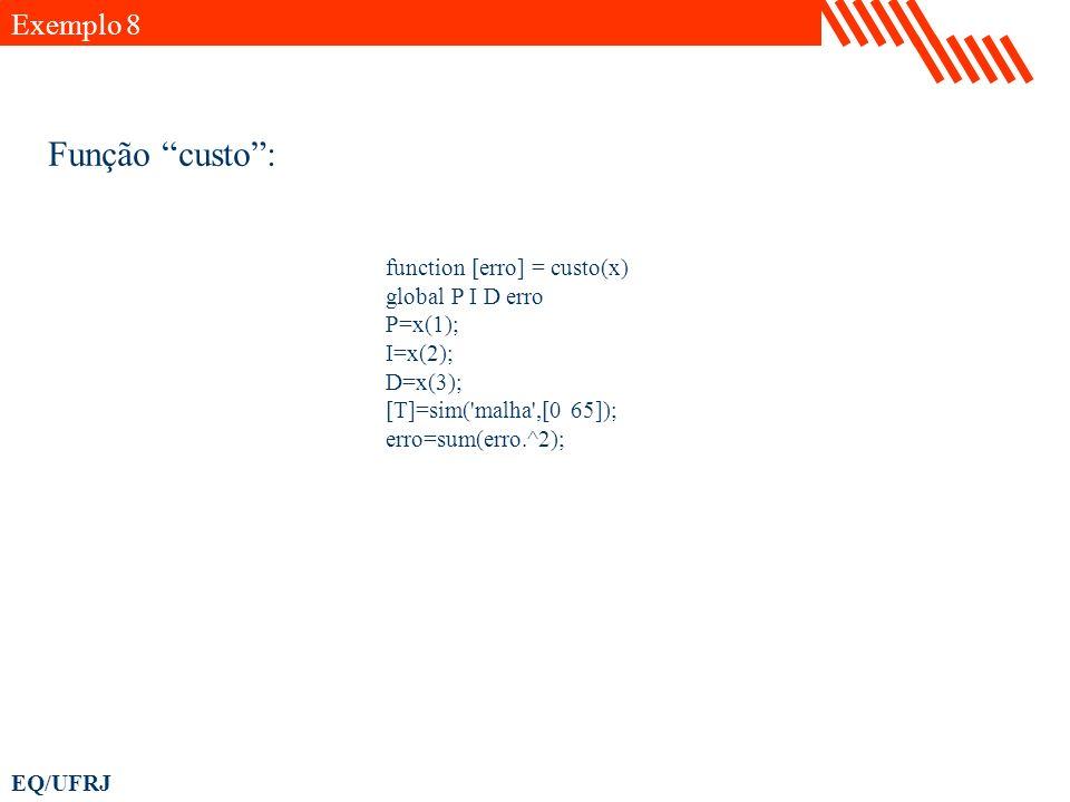 EQ/UFRJ function [erro] = custo(x) global P I D erro P=x(1); I=x(2); D=x(3); [T]=sim('malha',[0 65]); erro=sum(erro.^2); Função custo: Exemplo 8