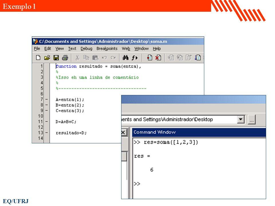 EQ/UFRJ % Definição das constantes do modelo R = 1; % h/m2 A = 2; % m2 Fe = 10; % m3/h % Tempo de simulação t = 0.0 : 0.01 : 10.0; % h % Simulação da altura de líquido [t,h] = ode45( dhdt ,t, 0,[],[R A Fe]); % Visualização da simulação plot(t,h); title( Simulação do tanque de nível ); xlabel( Tempo (h) ); ylabel( Altura (m) ); function dh = dhdt(t,h,flag,par) R = par(1); A = par(2); Fe = par(3); dh = (Fe-(h/R))/A; Exemplo 5
