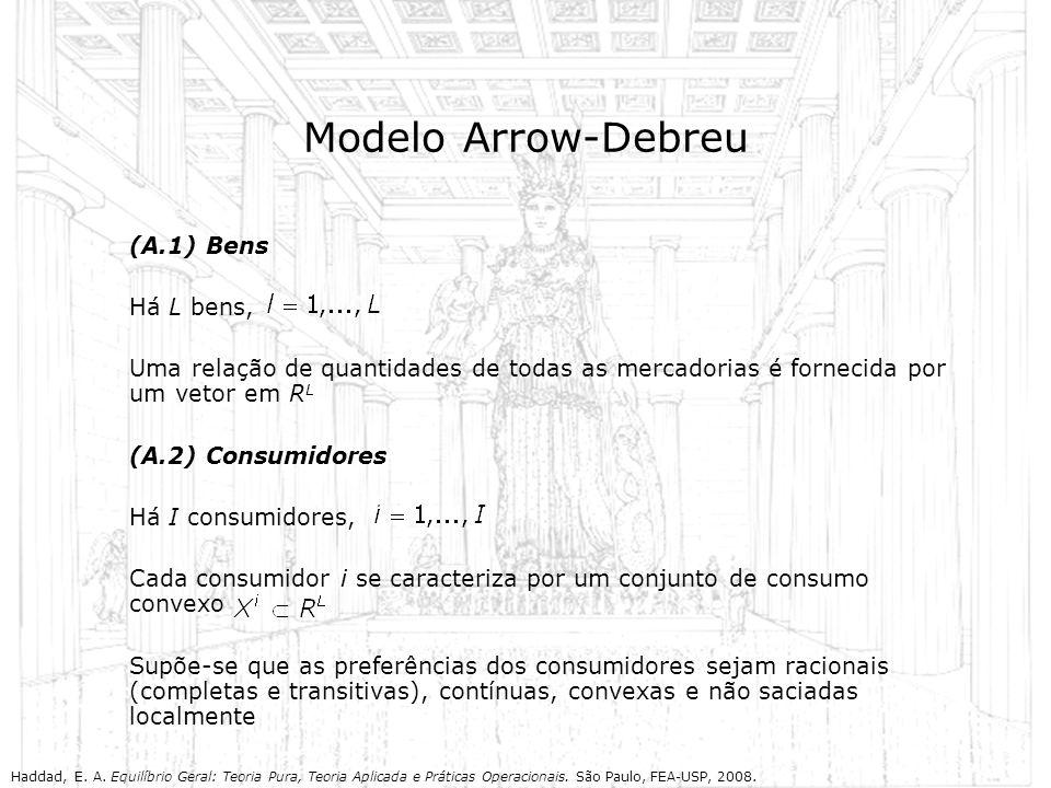 Modelo Arrow-Debreu (A.1) Bens Há L bens, Uma relação de quantidades de todas as mercadorias é fornecida por um vetor em R L (A.2) Consumidores Há I c