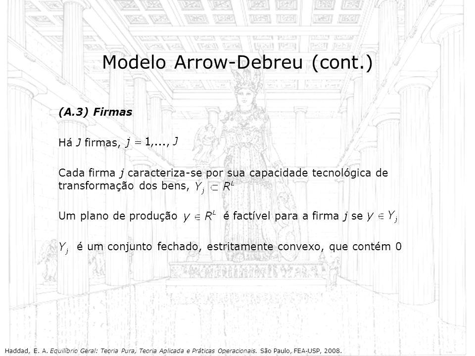 Modelo Arrow-Debreu (cont.) (A.3) Firmas Há J firmas, Cada firma j caracteriza-se por sua capacidade tecnológica de transformação dos bens, Um plano d
