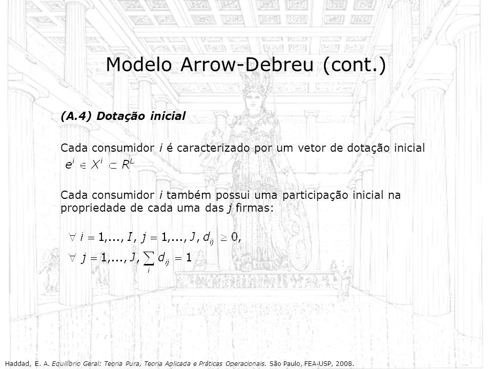 Modelo Arrow-Debreu (cont.) (A.4) Dotação inicial Cada consumidor i é caracterizado por um vetor de dotação inicial Cada consumidor i também possui um