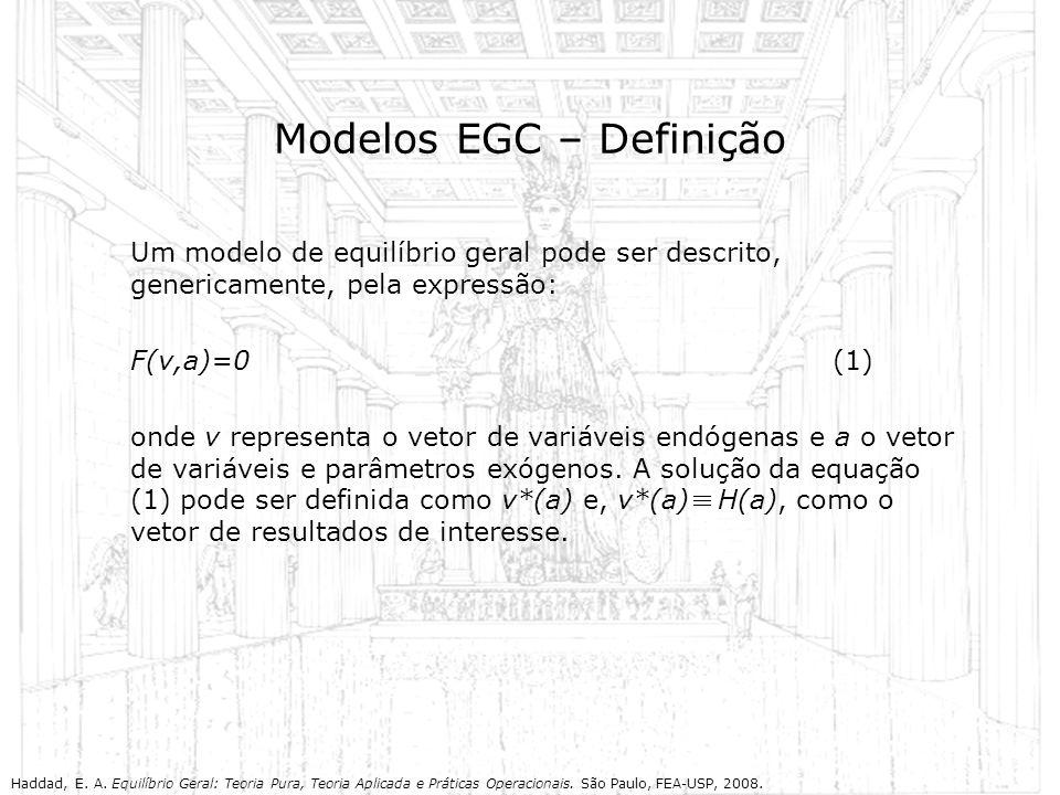 Modelos EGC – Definição Um modelo de equilíbrio geral pode ser descrito, genericamente, pela expressão: F(v,a)=0(1) onde v representa o vetor de variá