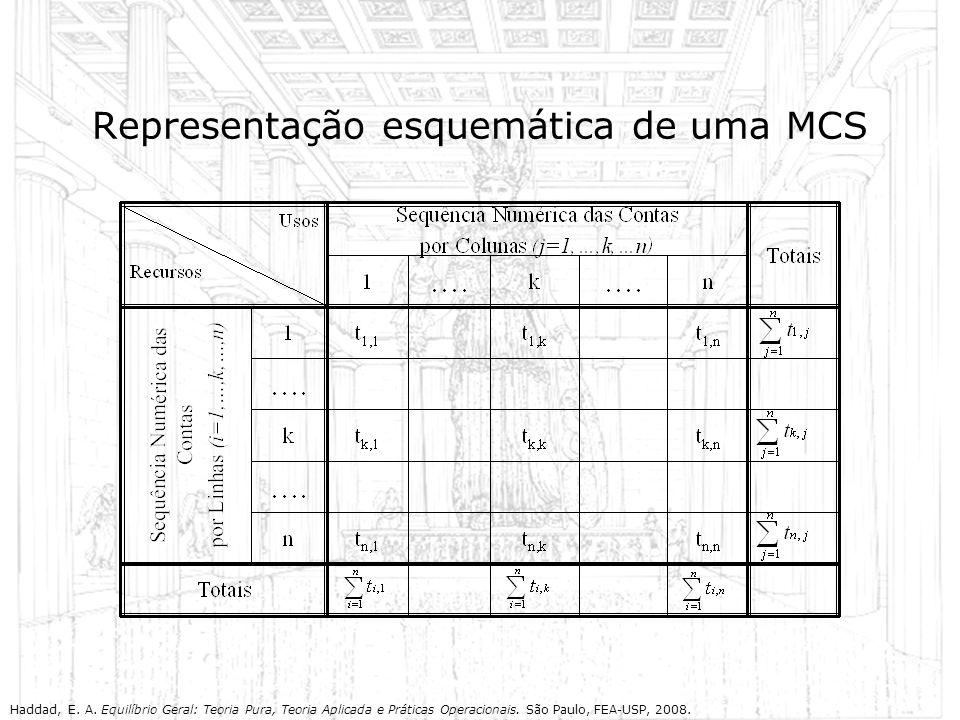 Representação esquemática de uma MCS Haddad, E. A. Equilíbrio Geral: Teoria Pura, Teoria Aplicada e Práticas Operacionais. São Paulo, FEA-USP, 2008.