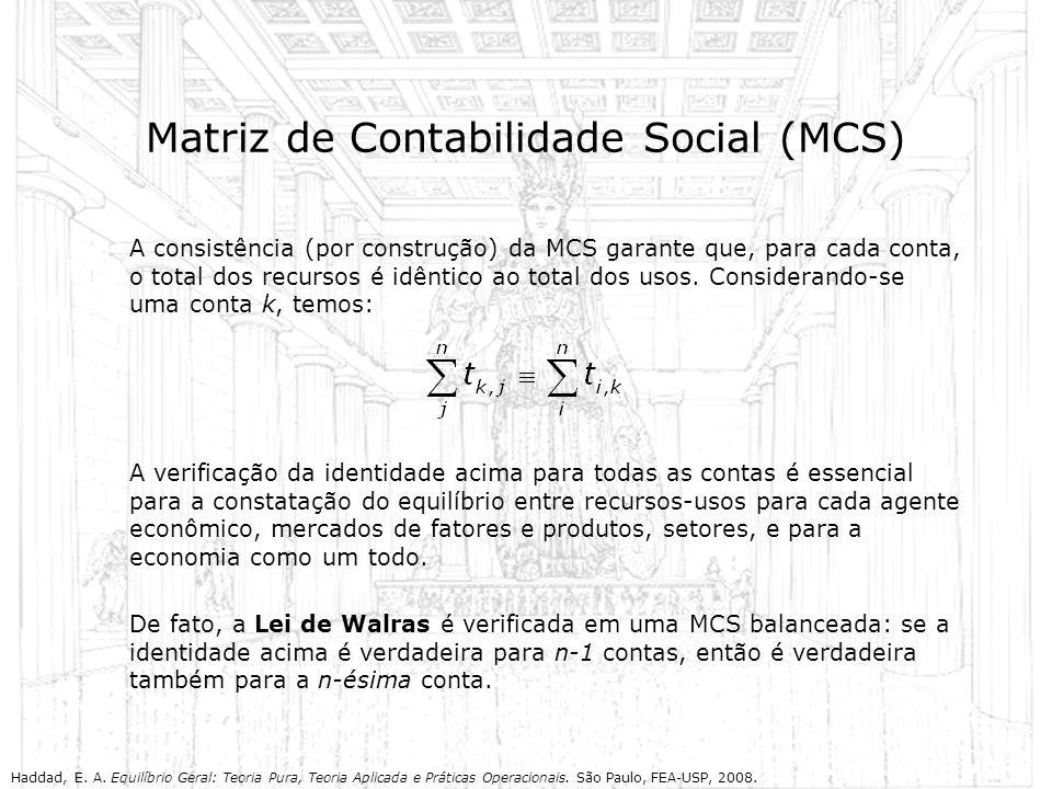 Matriz de Contabilidade Social (MCS) A consistência (por construção) da MCS garante que, para cada conta, o total dos recursos é idêntico ao total dos