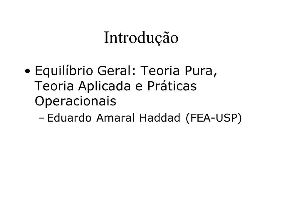 Introdução Equilíbrio Geral: Teoria Pura, Teoria Aplicada e Práticas Operacionais –Eduardo Amaral Haddad (FEA-USP)