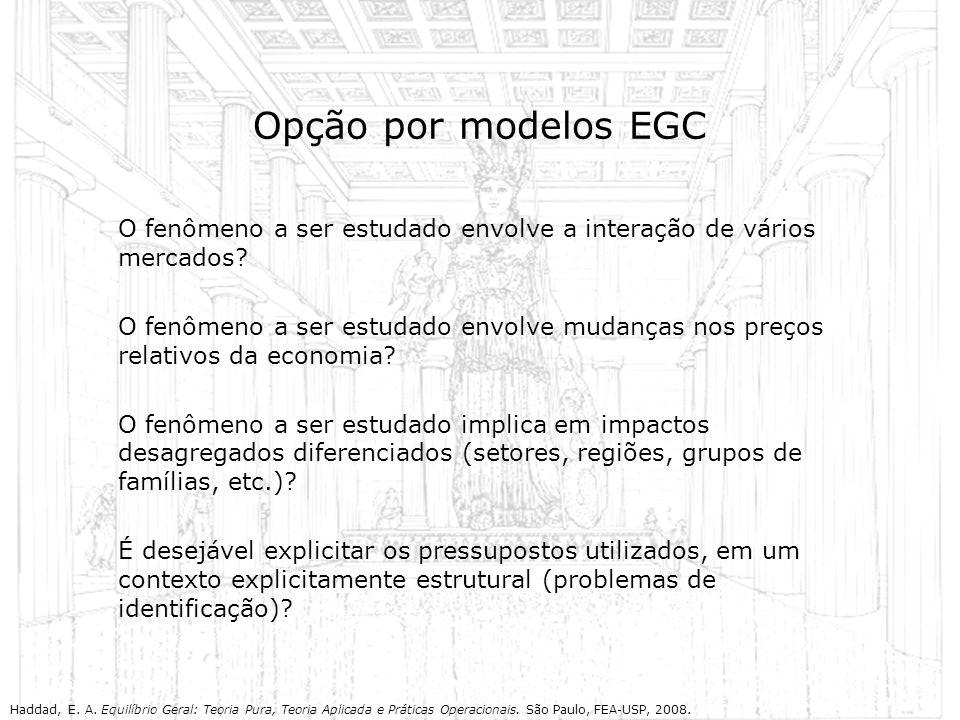Opção por modelos EGC O fenômeno a ser estudado envolve a interação de vários mercados? O fenômeno a ser estudado envolve mudanças nos preços relativo