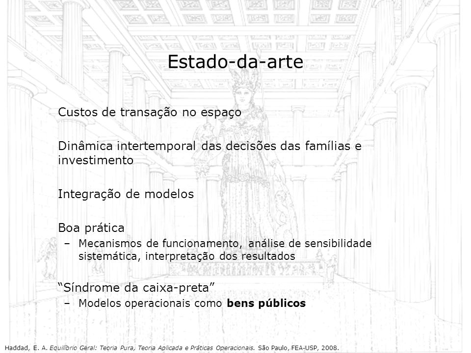 Estado-da-arte Custos de transação no espaço Dinâmica intertemporal das decisões das famílias e investimento Integração de modelos Boa prática –Mecani