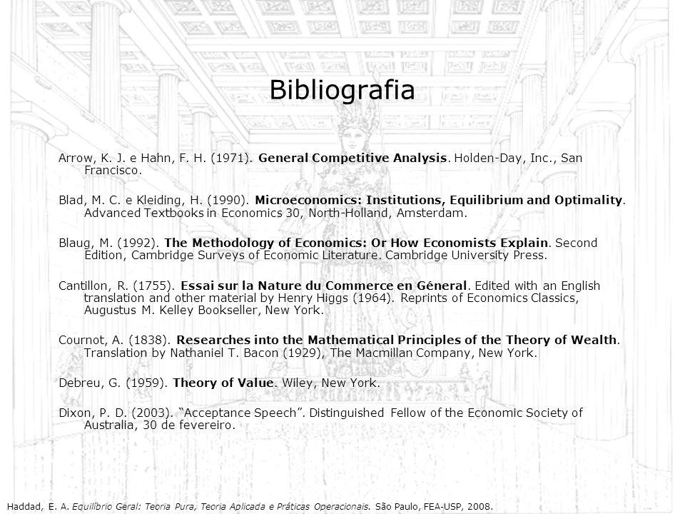 Bibliografia Arrow, K. J. e Hahn, F. H. (1971). General Competitive Analysis. Holden-Day, Inc., San Francisco. Blad, M. C. e Kleiding, H. (1990). Micr