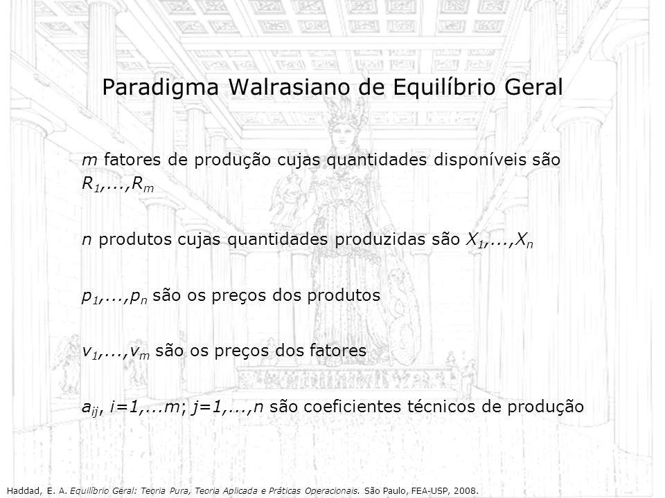 Paradigma Walrasiano de Equilíbrio Geral m fatores de produção cujas quantidades disponíveis são R 1,...,R m n produtos cujas quantidades produzidas s