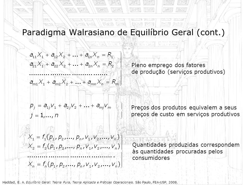 Paradigma Walrasiano de Equilíbrio Geral (cont.) Pleno emprego dos fatores de produção (serviços produtivos) Preços dos produtos equivalem a seus preç