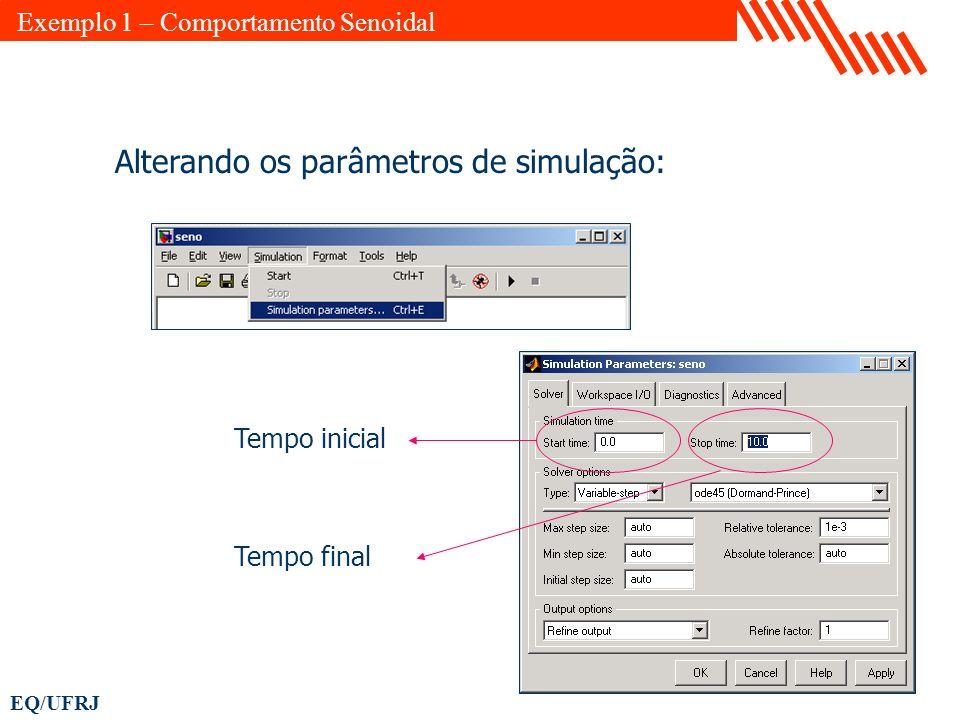 EQ/UFRJ Alterando os parâmetros de simulação: Tempo inicial Tempo final Exemplo 1 – Comportamento Senoidal