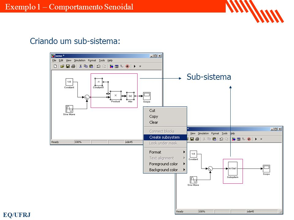 EQ/UFRJ Criando um sub-sistema: Sub-sistema Exemplo 1 – Comportamento Senoidal