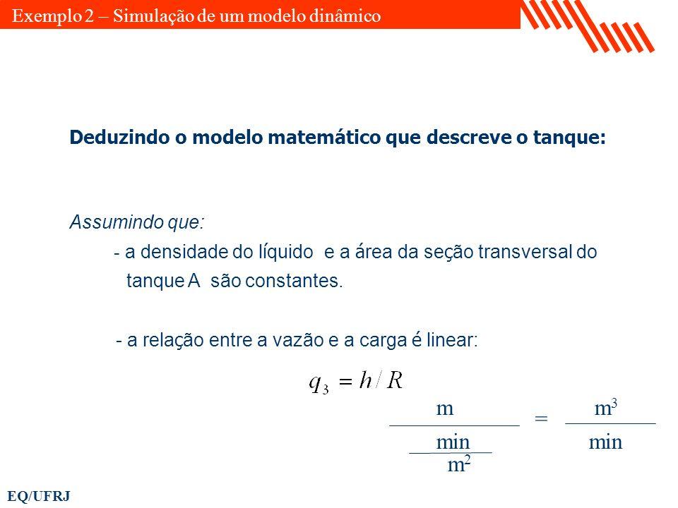 EQ/UFRJ Assumindo que: - a densidade do l í quido e a á rea da se ç ão transversal do tanque A são constantes. - a rela ç ão entre a vazão e a carga é