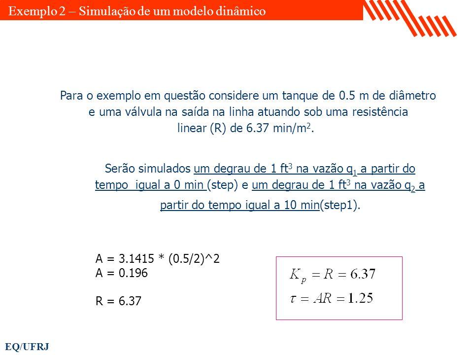 EQ/UFRJ Para o exemplo em questão considere um tanque de 0.5 m de diâmetro e uma válvula na saída na linha atuando sob uma resistência linear (R) de 6