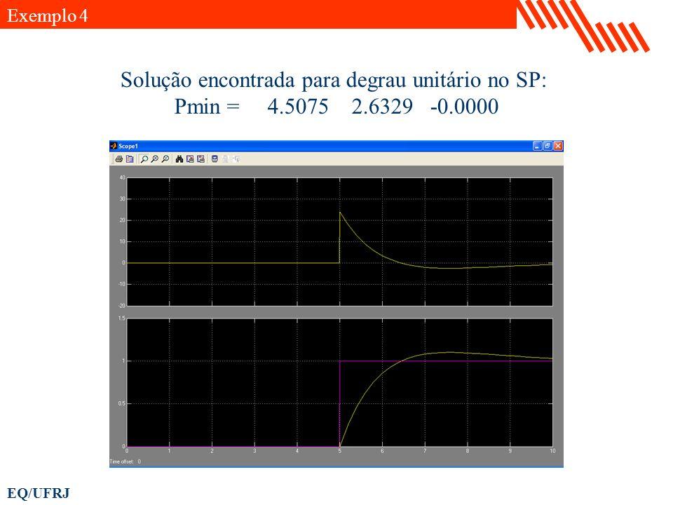 EQ/UFRJ Solução encontrada para degrau unitário no SP: Pmin = 4.5075 2.6329 -0.0000 Exemplo 4