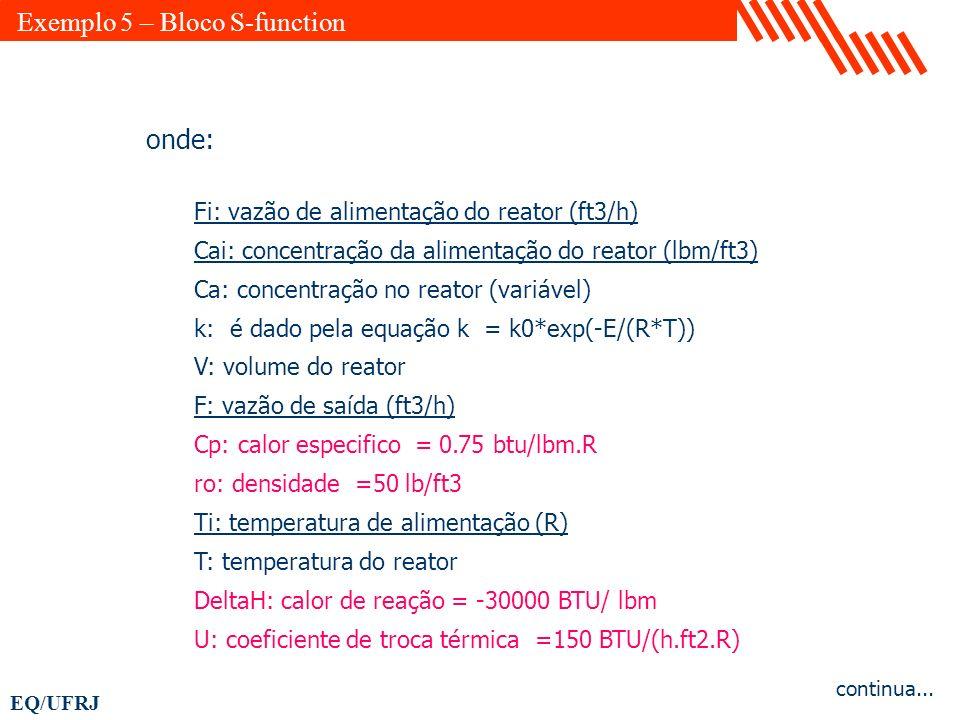 EQ/UFRJ onde: Fi: vazão de alimentação do reator (ft3/h) Cai: concentração da alimentação do reator (lbm/ft3) Ca: concentração no reator (variável) k: