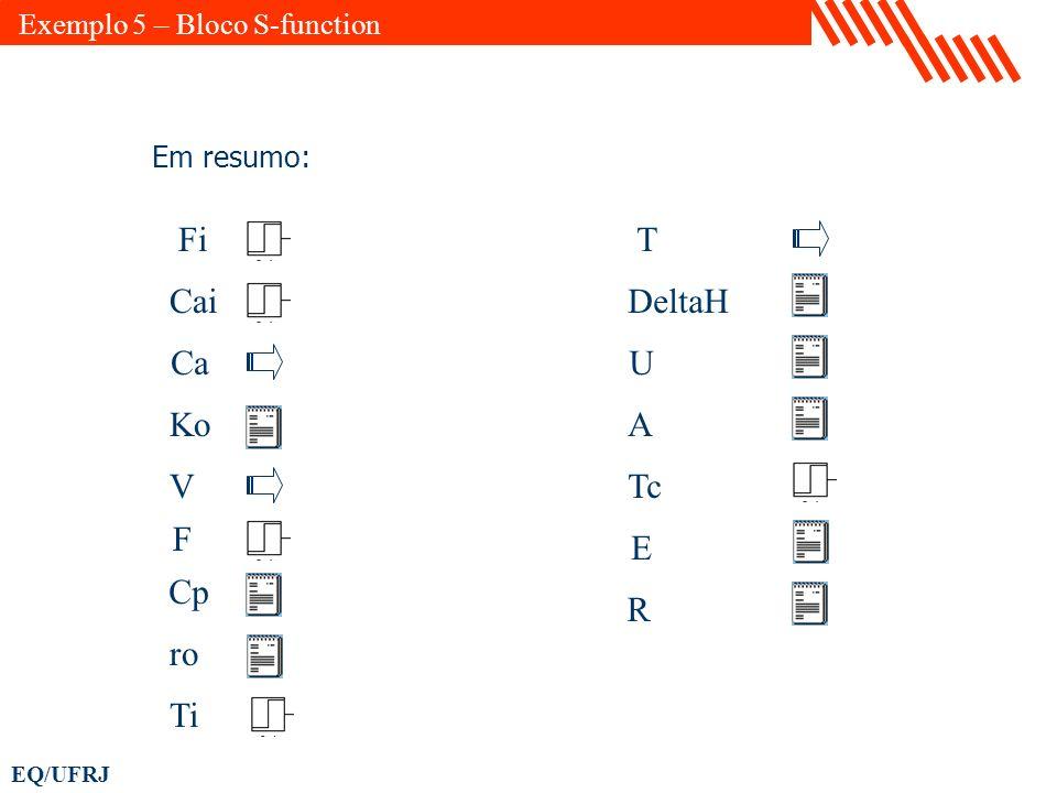 EQ/UFRJ Fi Cai Ca Ko V F Cp ro Ti T DeltaH U A Tc E R Em resumo: Exemplo 5 – Bloco S-function