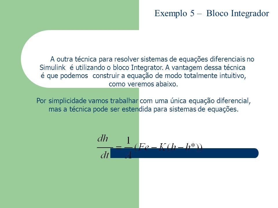 A outra técnica para resolver sistemas de equações diferenciais no Simulink é utilizando o bloco Integrator. A vantagem dessa técnica é que podemos co
