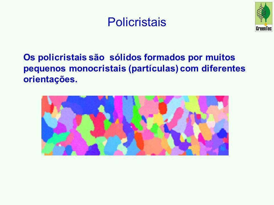 Policristais Os policristais são sólidos formados por muitos pequenos monocristais (partículas) com diferentes orientações.