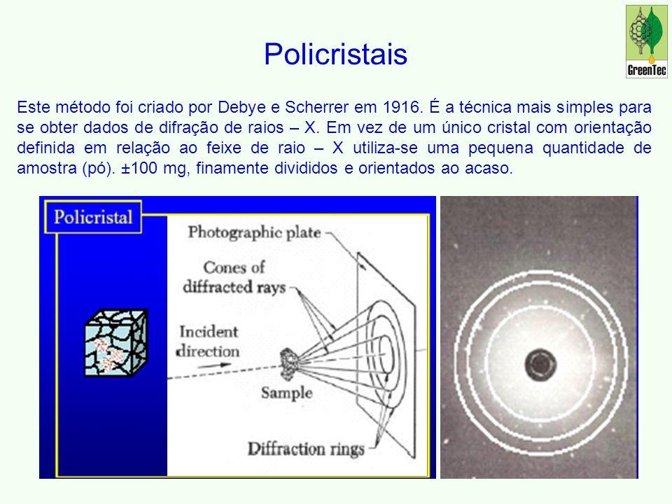 Policristais Este método foi criado por Debye e Scherrer em 1916.