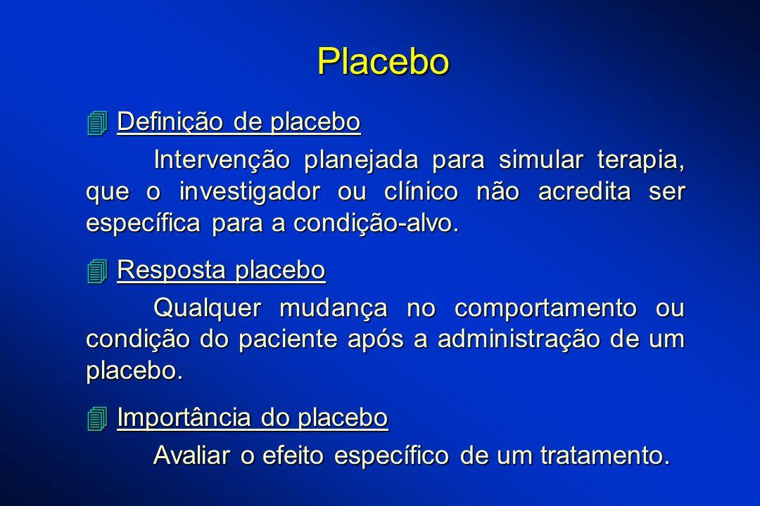 Definição de placebo Definição de placebo Intervenção planejada para simular terapia, que o investigador ou clínico não acredita ser específica para a