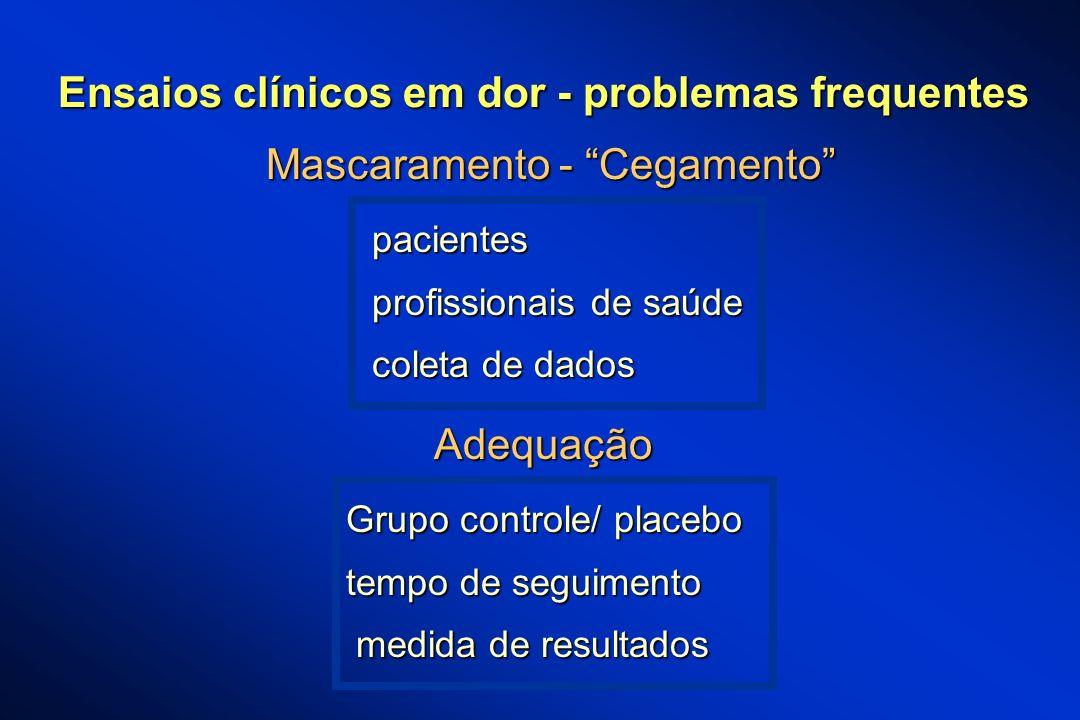 Mascaramento - Cegamento pacientes pacientes profissionais de saúde profissionais de saúde coleta de dados coleta de dados Adequação Grupo controle/ p