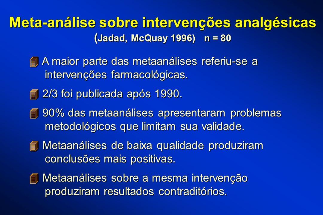 Meta-análise sobre intervenções analgésicas ( Jadad, McQuay 1996) n = 80 A maior parte das metaanálises referiu-se a A maior parte das metaanálises re