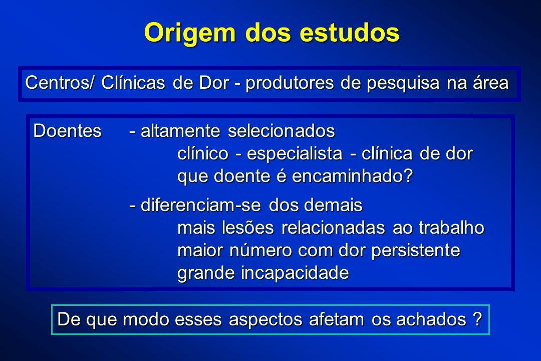 Origem dos estudos Centros/ Clínicas de Dor - produtores de pesquisa na área Doentes- altamente selecionados clínico - especialista - clínica de dor q