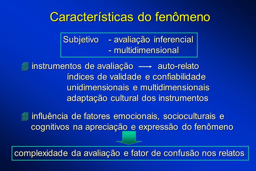 Características do fenômeno instrumentos de avaliação auto-relato instrumentos de avaliação auto-relato índices de validade e confiabilidade unidimens