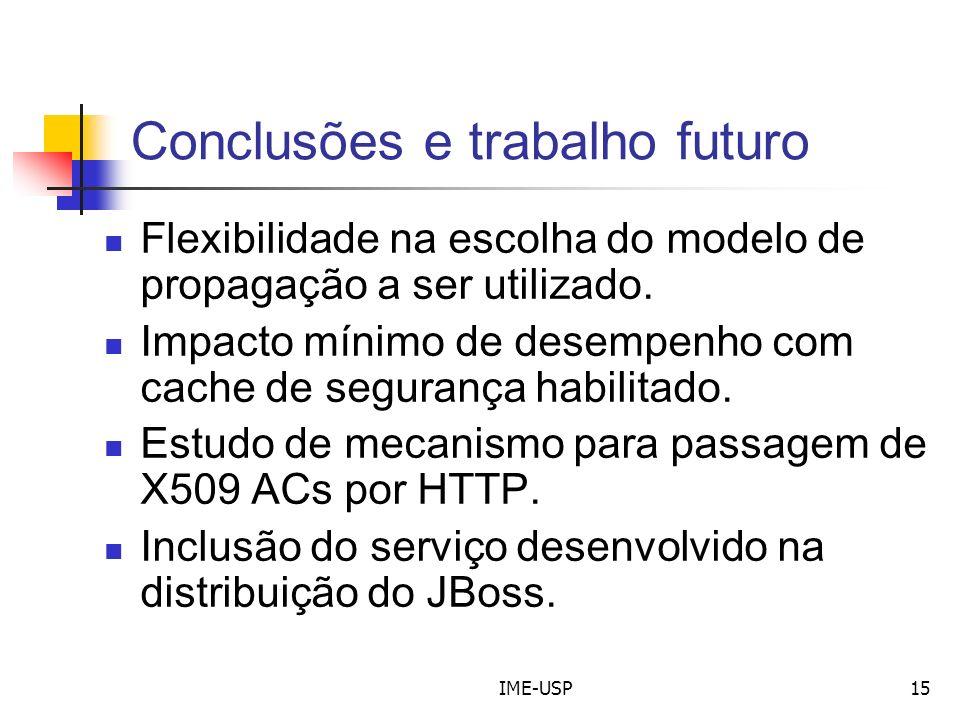 IME-USP15 Conclusões e trabalho futuro Flexibilidade na escolha do modelo de propagação a ser utilizado. Impacto mínimo de desempenho com cache de seg