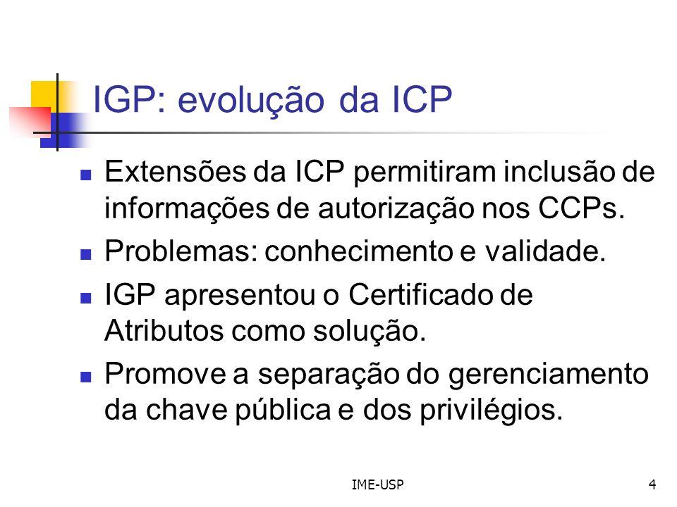 IME-USP4 IGP: evolução da ICP Extensões da ICP permitiram inclusão de informações de autorização nos CCPs. Problemas: conhecimento e validade. IGP apr