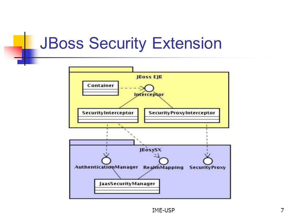 IME-USP8 JBoss Security Extension Implementação padrão baseada em JAAS.