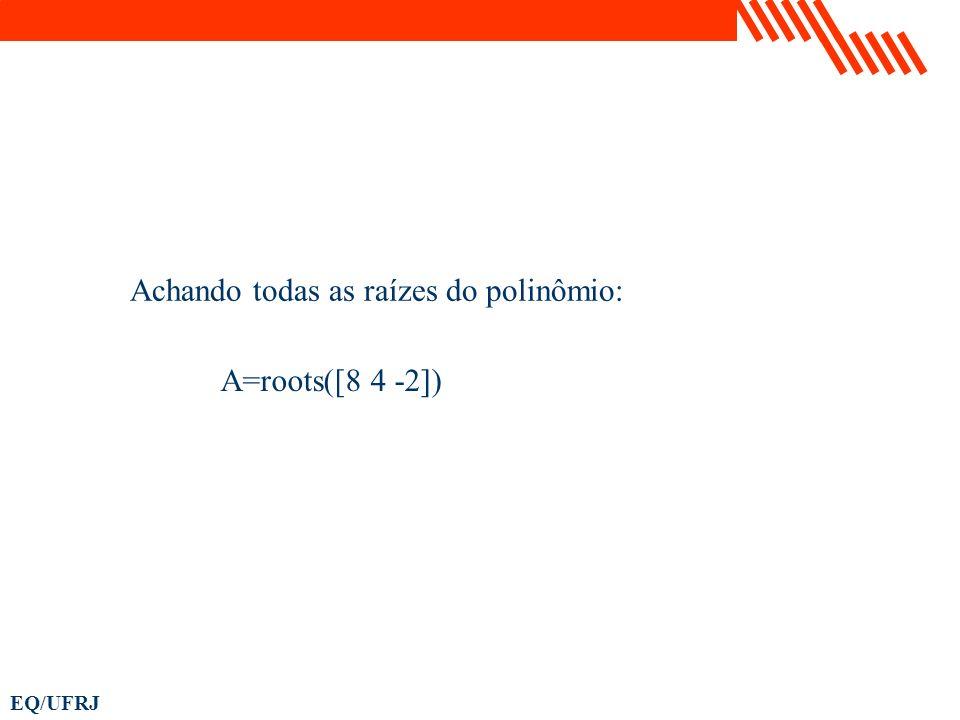 A=roots([8 4 -2]) Achando todas as raízes do polinômio: