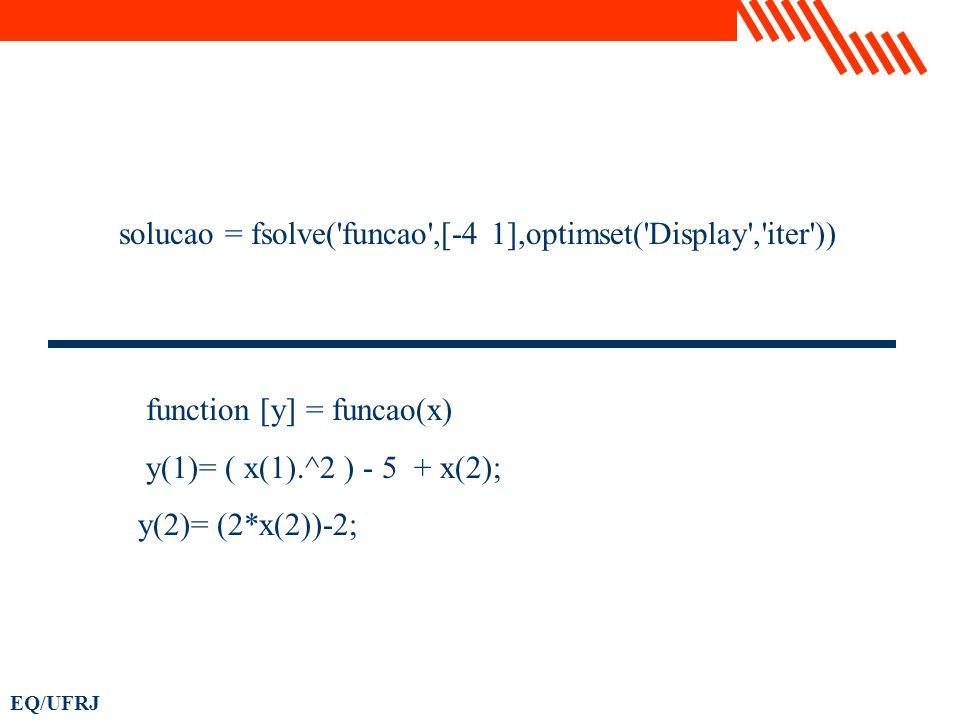 EQ/UFRJ solucao = fsolve('funcao',[-4 1],optimset('Display','iter')) function [y] = funcao(x) y(1)= ( x(1).^2 ) - 5 + x(2); y(2)= (2*x(2))-2;