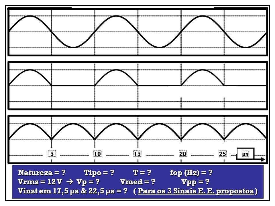 Natureza = ? Tipo = ? T = ? fop (Hz) = ? Natureza = ? Tipo = ? T = ? fop (Hz) = ? Vrms = 12 V Vp = ? Vmed = ? Vpp = ? Vrms = 12 V Vp = ? Vmed = ? Vpp