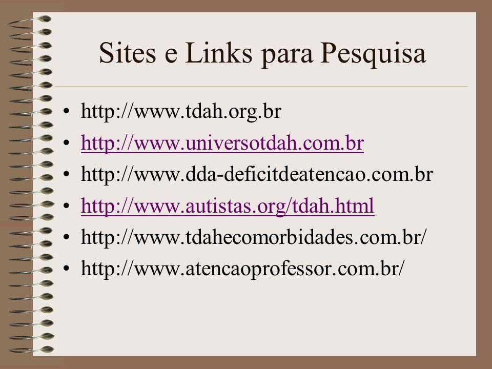 Sites e Links para Pesquisa http://www.tdah.org.br http://www.universotdah.com.br http://www.dda-deficitdeatencao.com.br http://www.autistas.org/tdah.